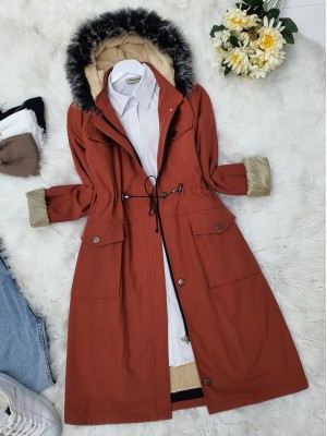 Pull-out Hooded Lace-up Bondit Short Coat -Brick color