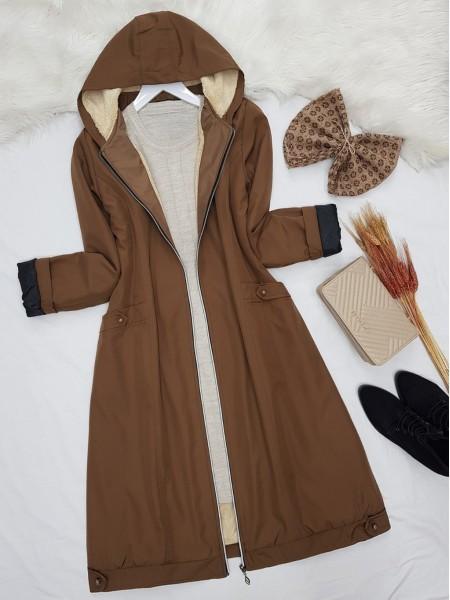 Zipper Hooded Plush Bondit Coat -Snuff