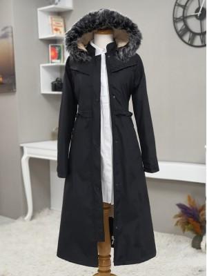 Fur Hooded Zipper Snap Fastener Long Coat -Black