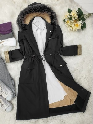 Pull-out Hooded Lace-up Bondit Short Coat -Black