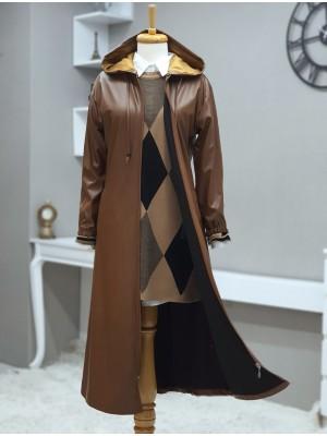Hooded Zipper Sleeves Elastic Leather Cap -Snuff