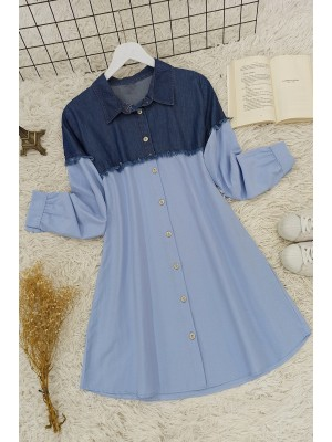 Jeans Detailed Shirt -Blue