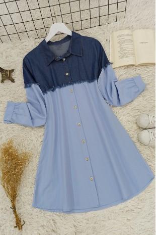 Kot Detaylı Gömlek -Mavi