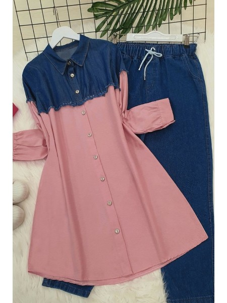 Jeans Detailed Shirt   -Salmon
