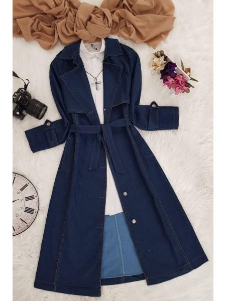 Tie Waist Denim Trench Coat  -İndigo