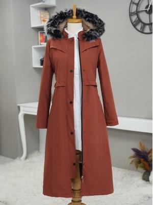 Fur Hooded Zipper Snap Fastener Long Coat -Brick color