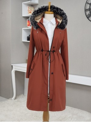 Pull-out Hooded Tunnel Lace Short Coat -Brick color