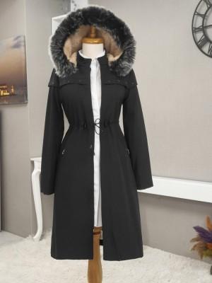 Hooded Star Metal Detailed Coat -Black