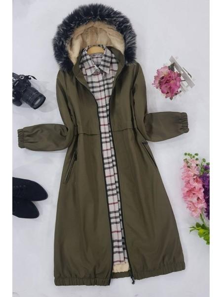 Plush Parachute Fabric Coat  -Khaki