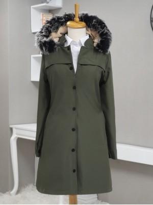 Pull-out Hooded Snap Pocket Short Coat -Khaki
