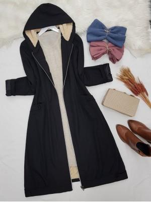 Zipper Hooded Plush Bondit Coat -Black