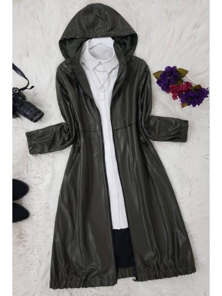 Long Hooded Leather Cap -Khaki
