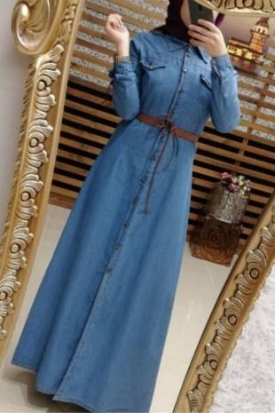 Boydan Düğmeli Kemerli Kot Elbise -Mavi