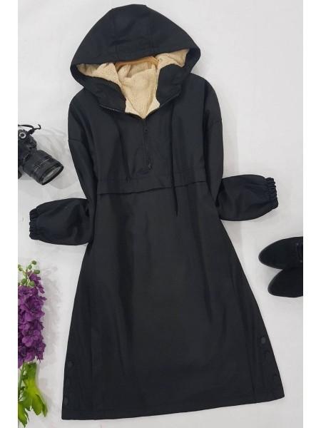 Plush Coat Tunic -Black