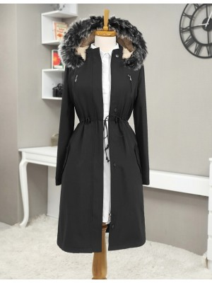 Pull-out Hooded Tunnel Lace Short Coat -Black