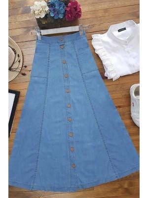 Front Buttoned Denim Skirt -Blue