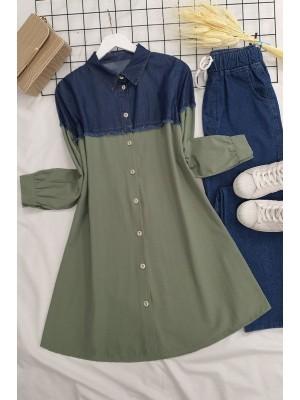 Jeans Detailed Shirt  -Green