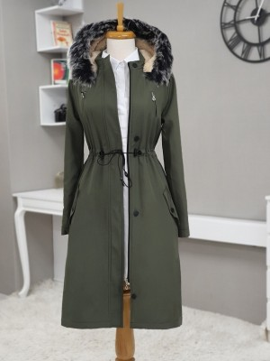 Pull-out Hooded Tunnel Lace Short Coat -Khaki