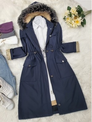 Pull-out Hooded Lace-up Bondit Short Coat -Navy blue