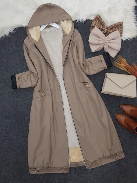 Zipper Hooded Plush Bondit Coat -Stone