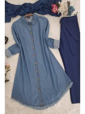 Colored Denim Tunic  -Blue