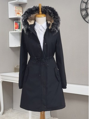 Pull-out Hooded Sleeve Elastic Pocket Short Coat -Black