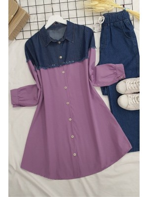 Jeans Detailed Shirt  -Lilac