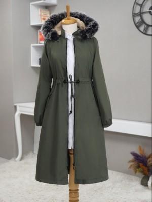 Hooded Fur Coat With Pockets Zippered Long Coat -Khaki