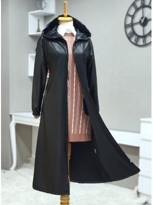 Hooded Zipper Sleeves Elastic Leather Cap -Black