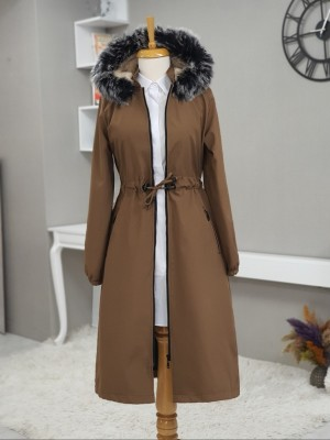 Hooded Fur Coat With Pockets Zippered Long Coat -Snuff
