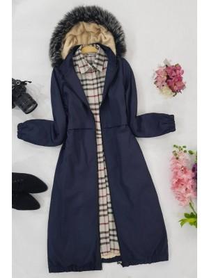 Plush Parachute Fabric Coat -Navy blue