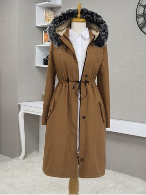 Pull-out Hooded Tunnel Lace Short Coat -Snuff