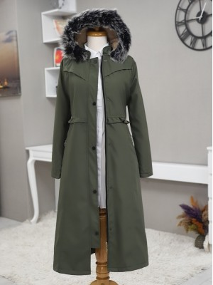 Fur Hooded Zipper Snap Fastener Long Coat -Khaki