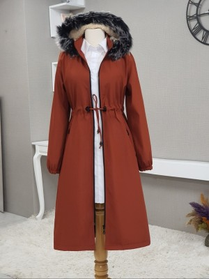 Hooded Fur Coat With Pockets Zippered Long Coat -Brick color
