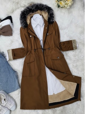 Pull-out Hooded Lace-up Bondit Short Coat -Snuff