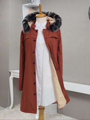 Pull-out Hooded Snap Pocket Short Coat -Brick color