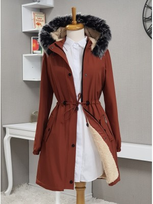 Pull-out Hooded Sleeve Elastic Pocket Short Coat -Brick color