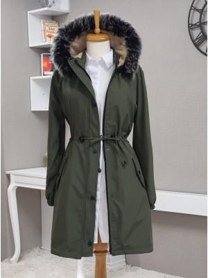 Pull-out Hooded Sleeve Elastic Pocket Short Coat -Khaki