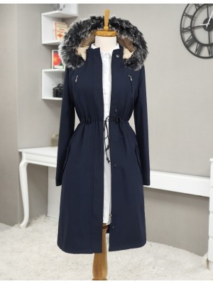 Pull-out Hooded Tunnel Lace Short Coat -Navy blue
