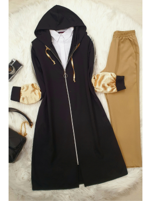 Satin Detailed Hooded Cape -Black