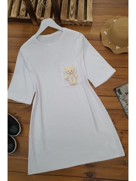 Bear Short Sleeve Shirt -White