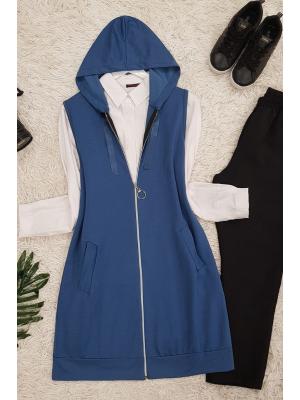 Hooded Combed Cotton Vest -İndigo