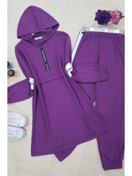 Striped Combed Suit   -Damson