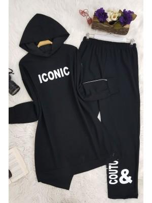 Iconıc Baskılı Kapşonlu Takım -Black
