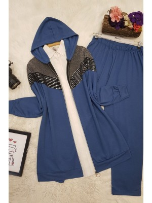 Zippered Silvery Hooded Suit -İndigo