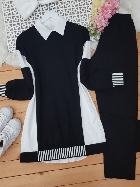 Skirt and Arm Elastic Double Color Garnish Suit -Black