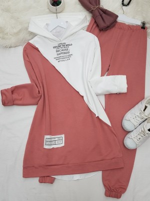 Hooded Letter Detailed Double Color Combed Cotton Set -Powder