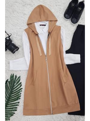 Hooded Combed Cotton Vest -Mink color