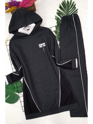 Combed cotton suit with sides and sleeves -Smoked