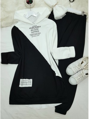 Hooded Letter Detailed Double Color Combed Cotton Set -Black